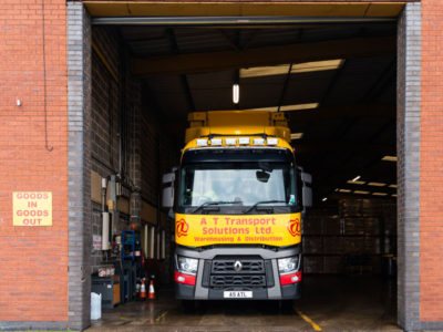 truck being loaded at transport solutions